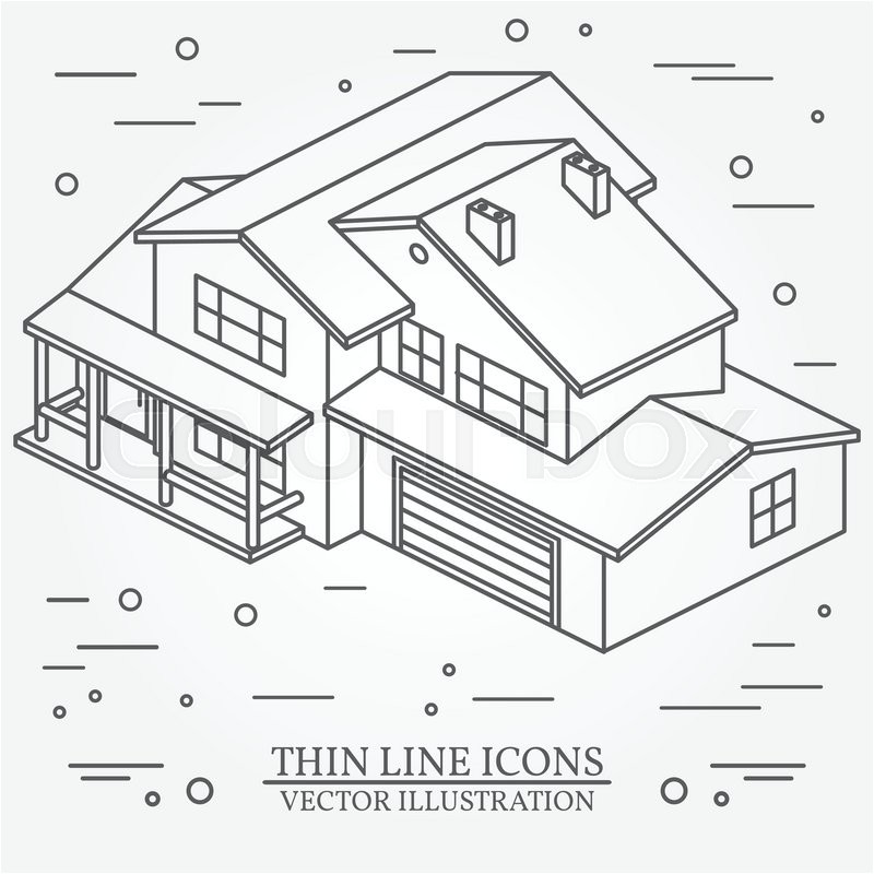 Isometric Drawing House Plans Vector Thin Line Icon isometric Suburban American House
