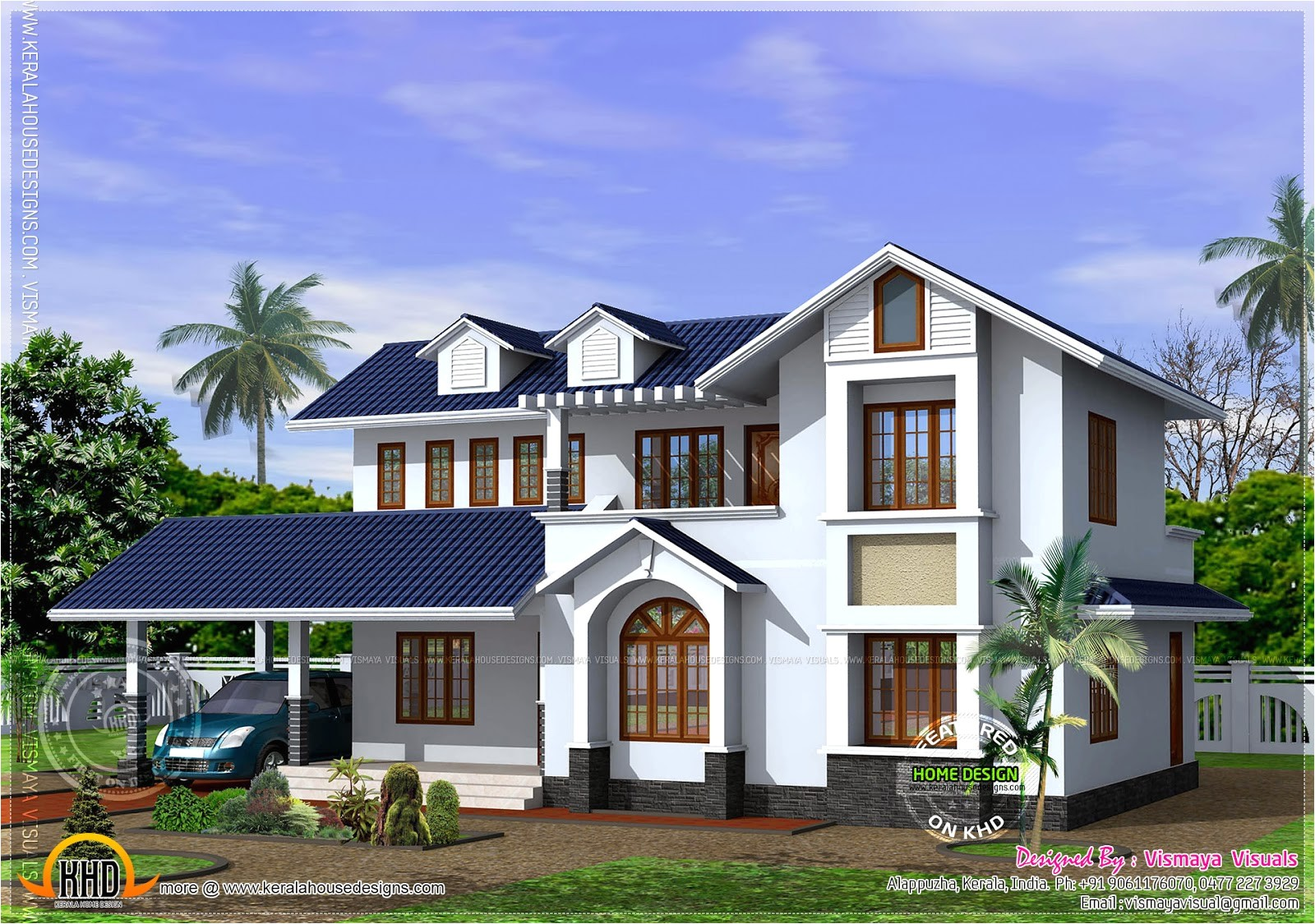 kerala style house with free floor plan