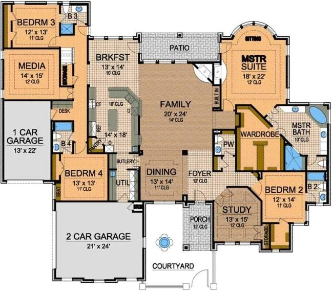 awesome one story floor plan