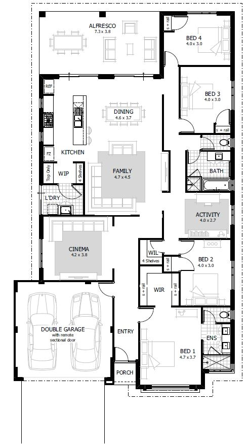 4 bedroom house floor plan