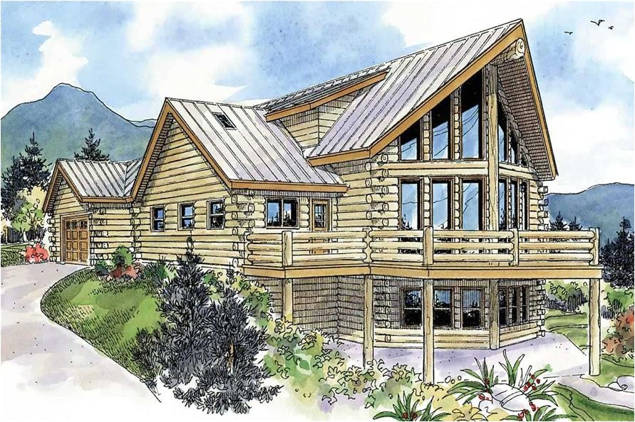 log cabin house plans with attached garage