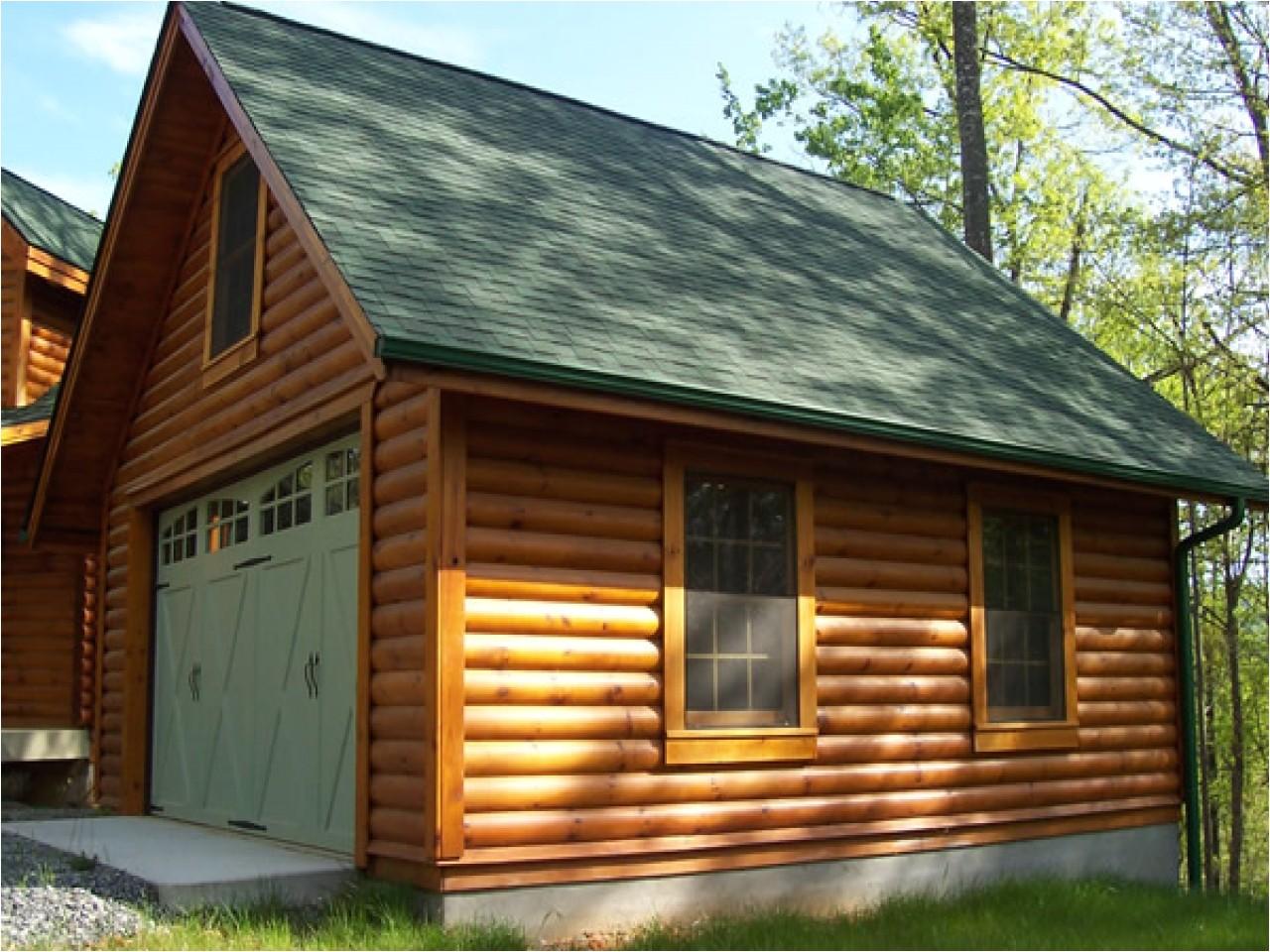 Log Home Garage Apartment Plan Cabin Garages 2 Car With