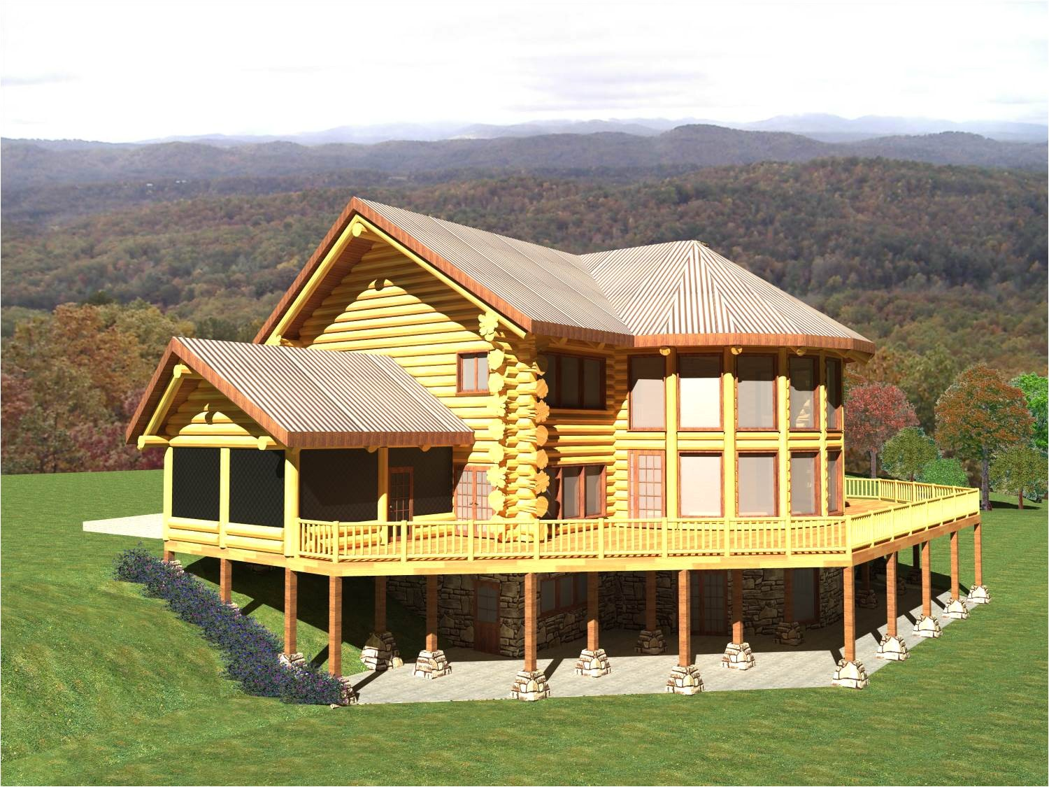 tennessee 4329 sq ft luxury log home plans
