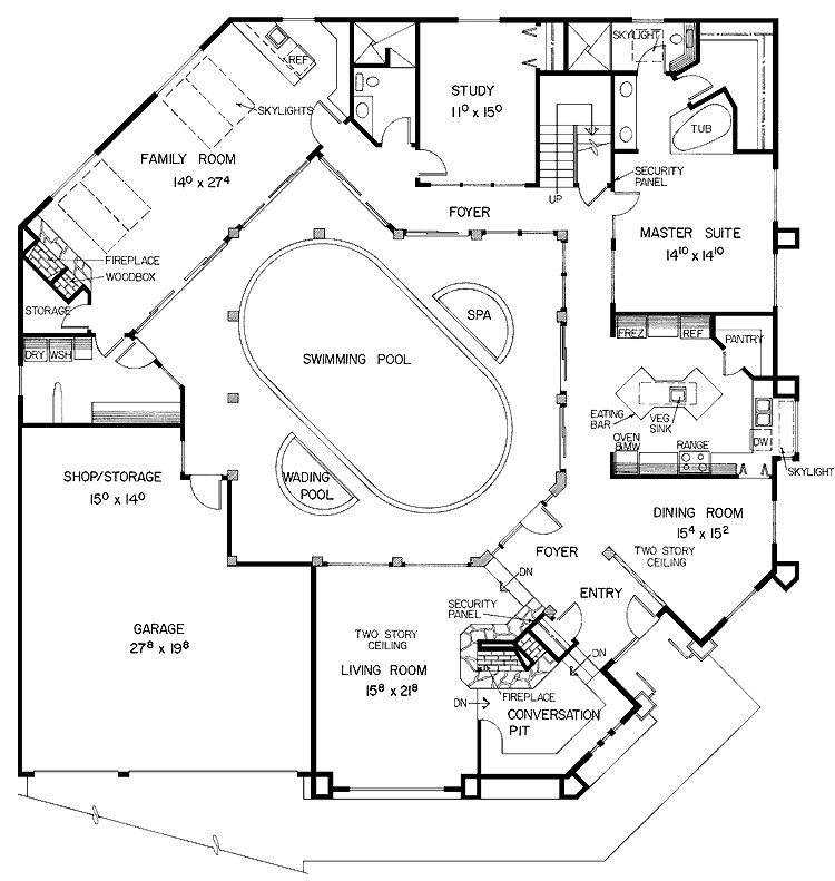 home plans with indoor lap pool