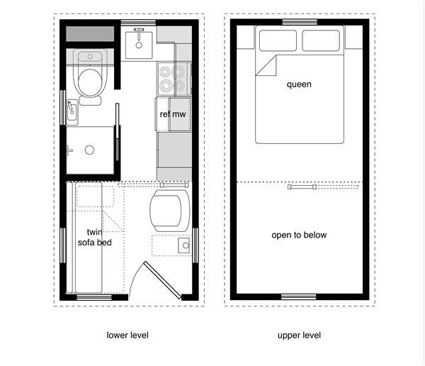 tiny houses with lower level beds