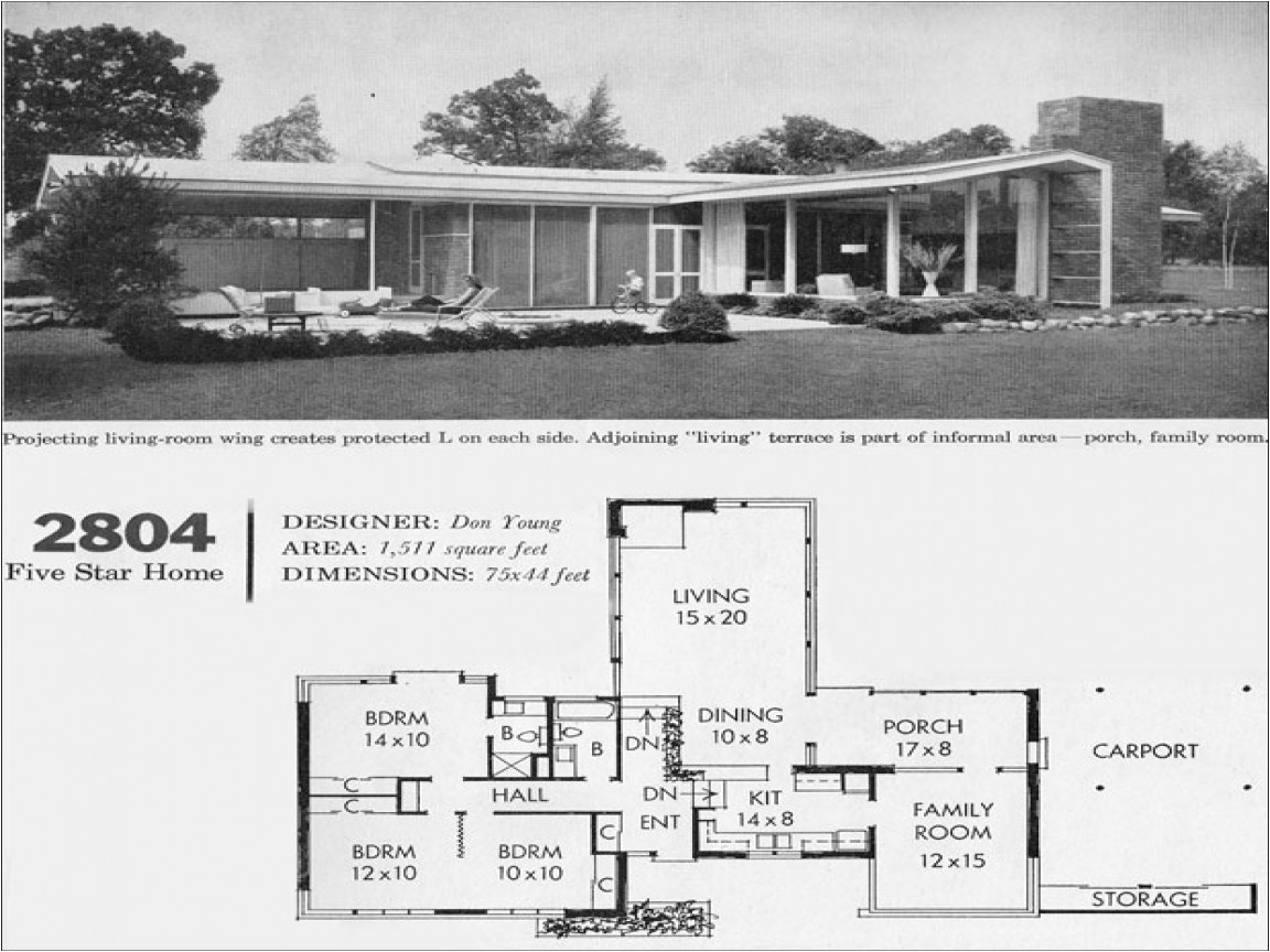 mid century modern home floor plans