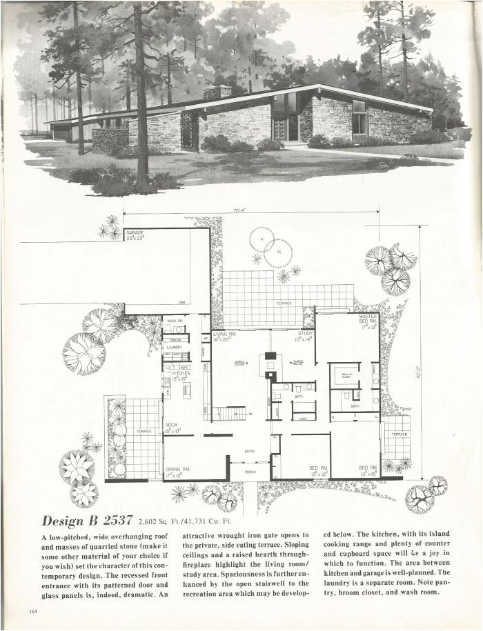 vintage house plans distinctive mid century contemporary