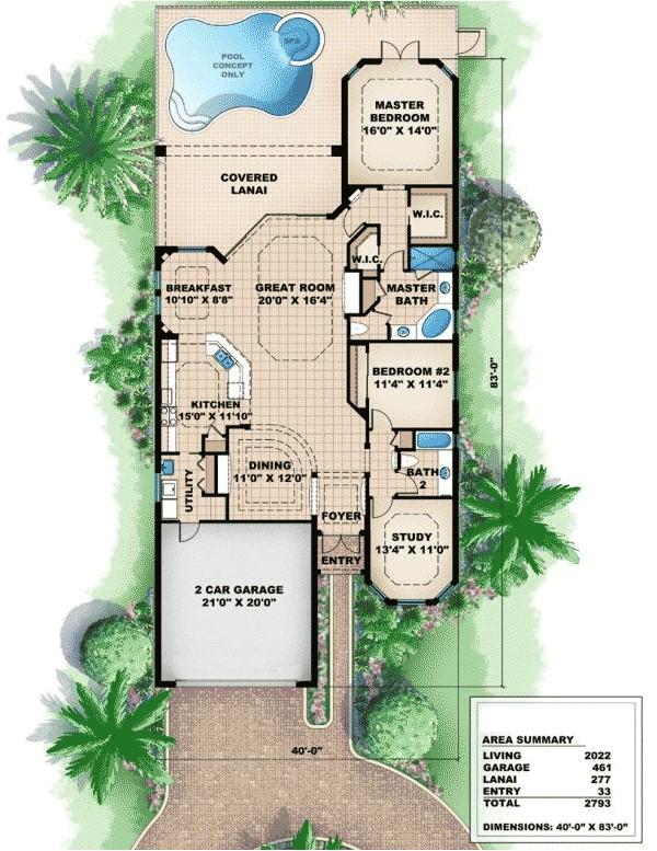 narrow mediterranean house plans
