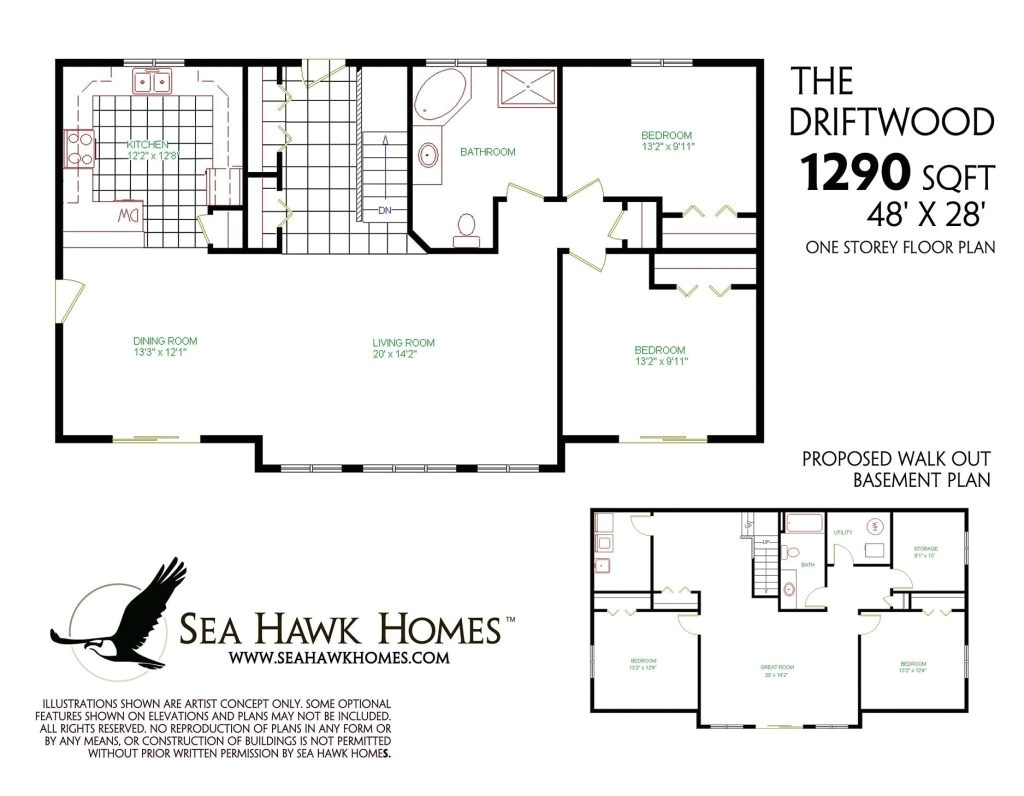 one story house plans with finished basement