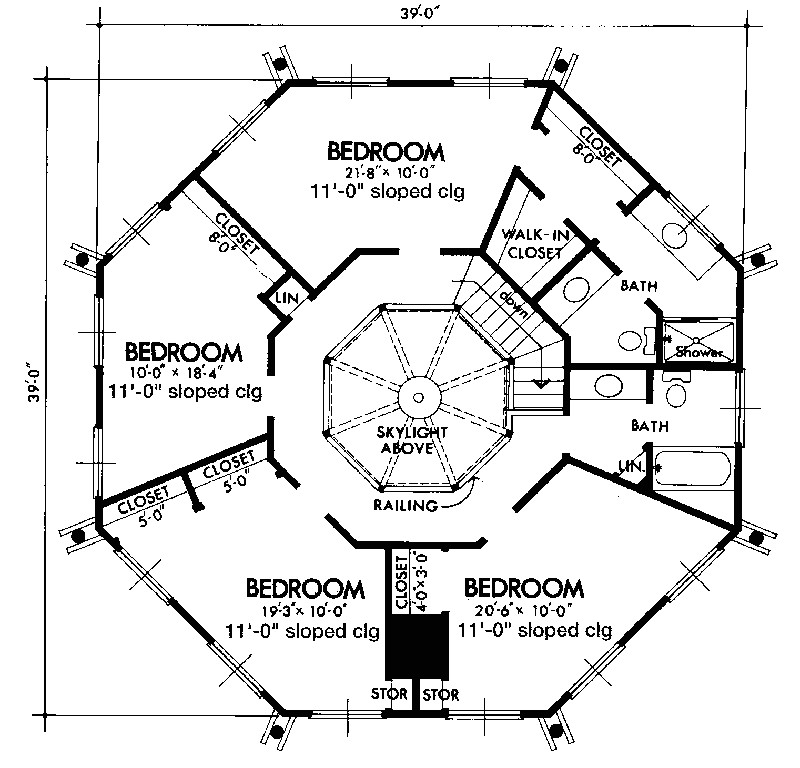 small octagon house plans