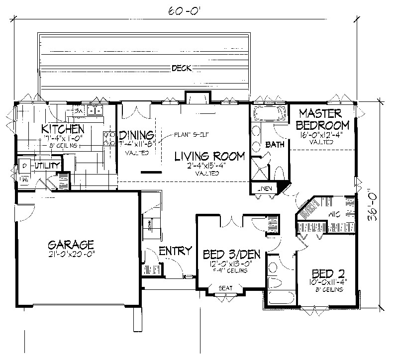 single story house plans with a basement