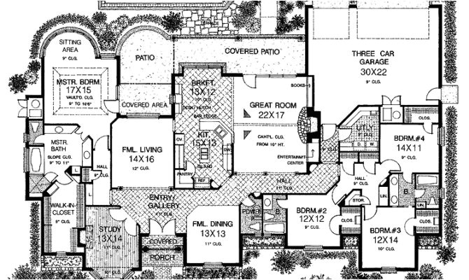 smart placement one story house plans with large kitchens ideas