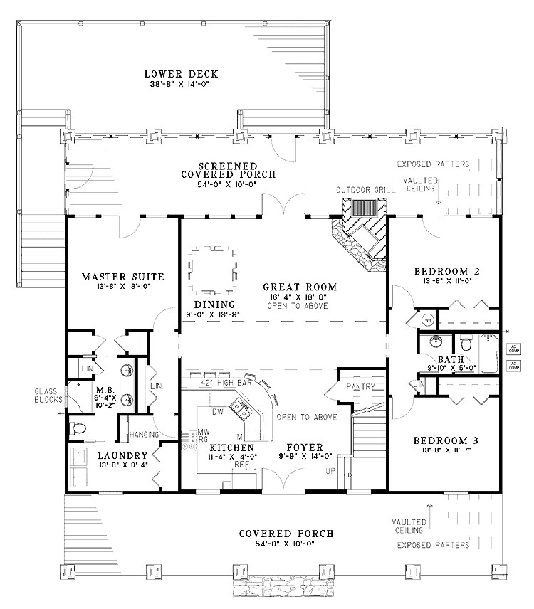 beautiful rustic country home w super open layout hq plans pictures