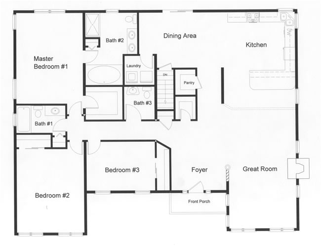 open floor house plans and this floor plan the downing hill ranch style