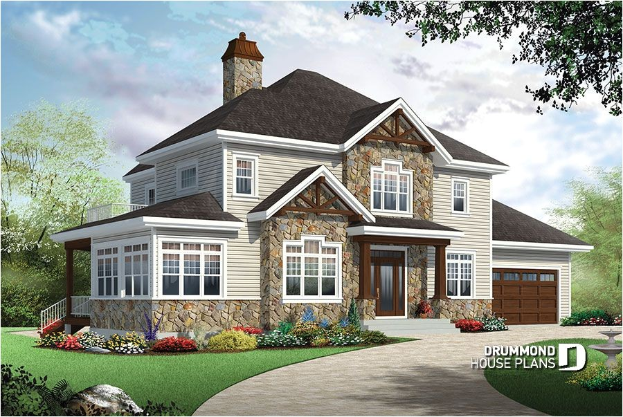 4 bedroom traditional house plan with rustic touches two master suites