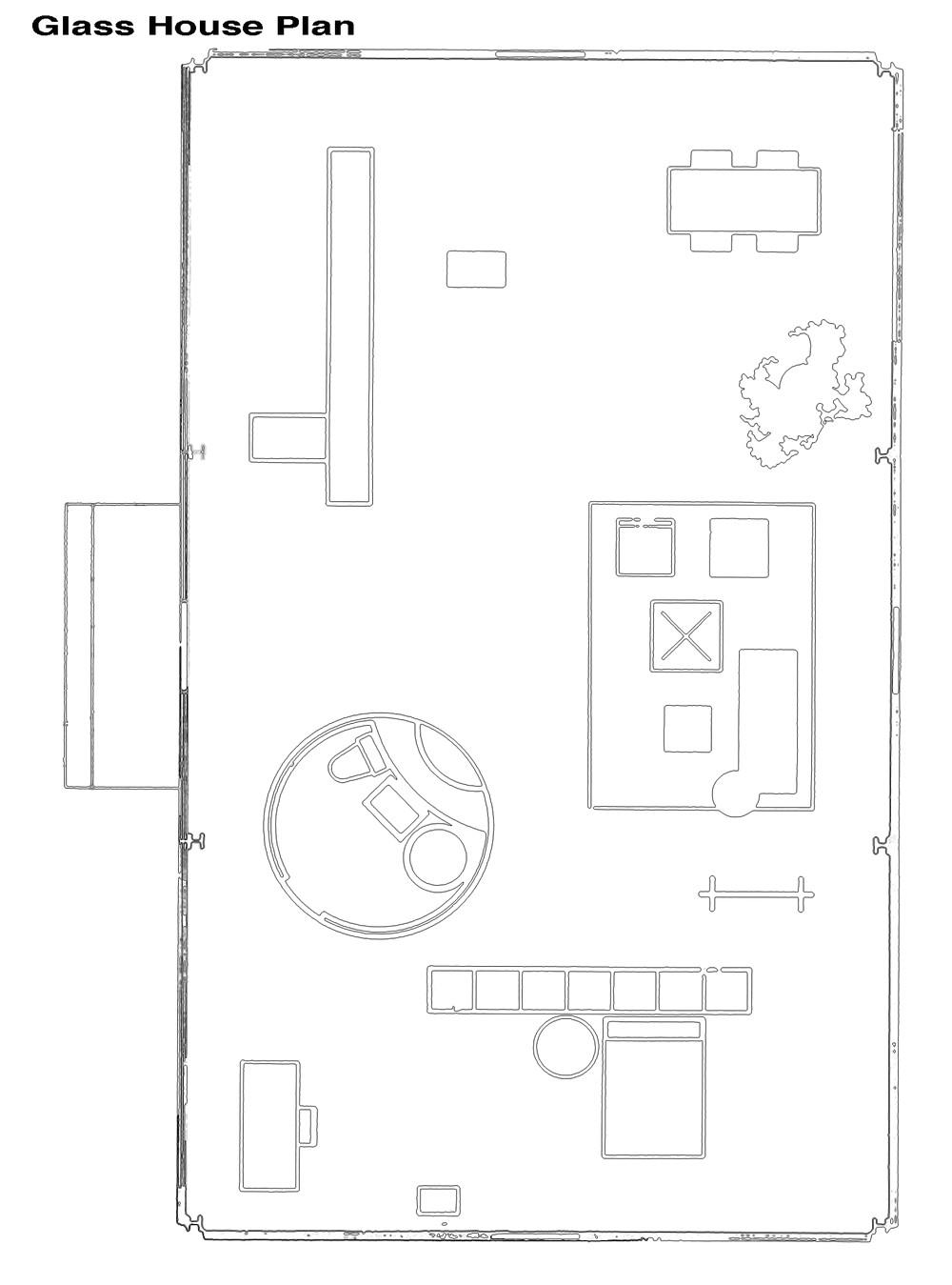 glass house philip johnson plan