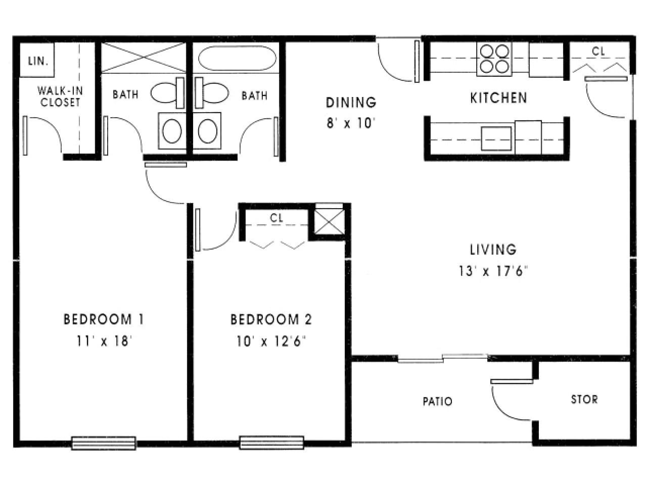 2 bedroom house plans under 1000 sq ft