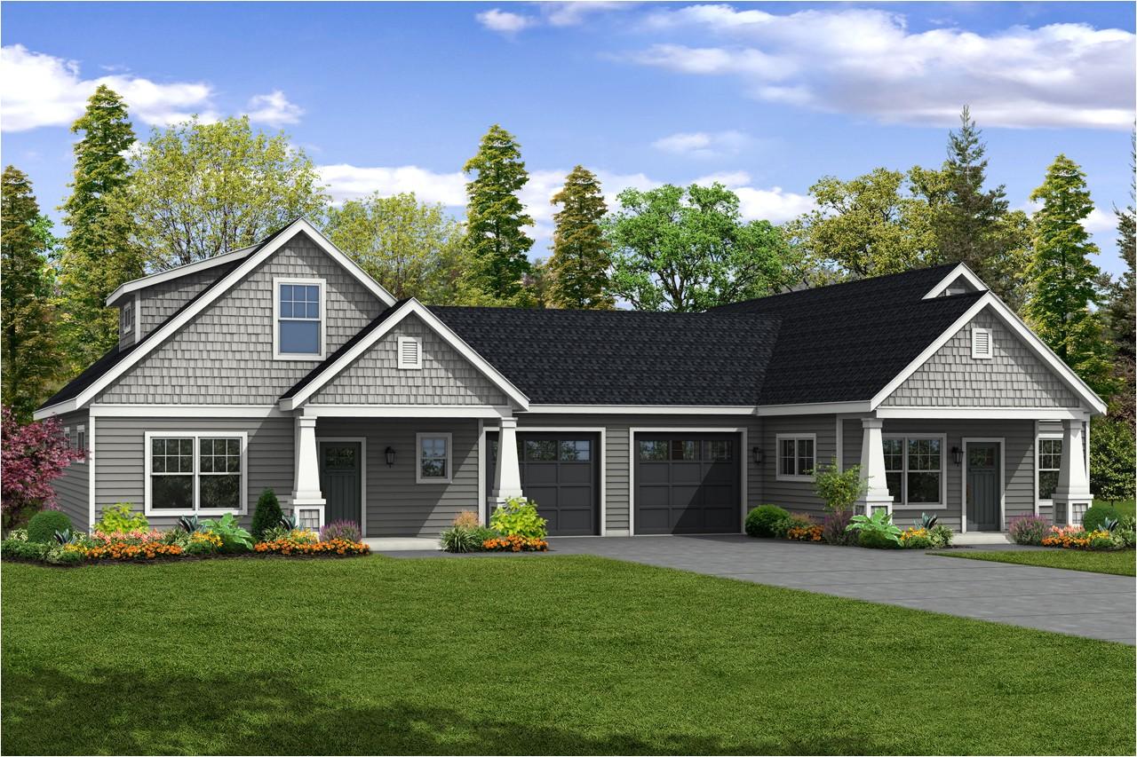 new duplex design has a charming exterior