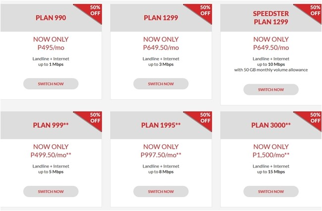 pldt home dsl 50 off on all plans