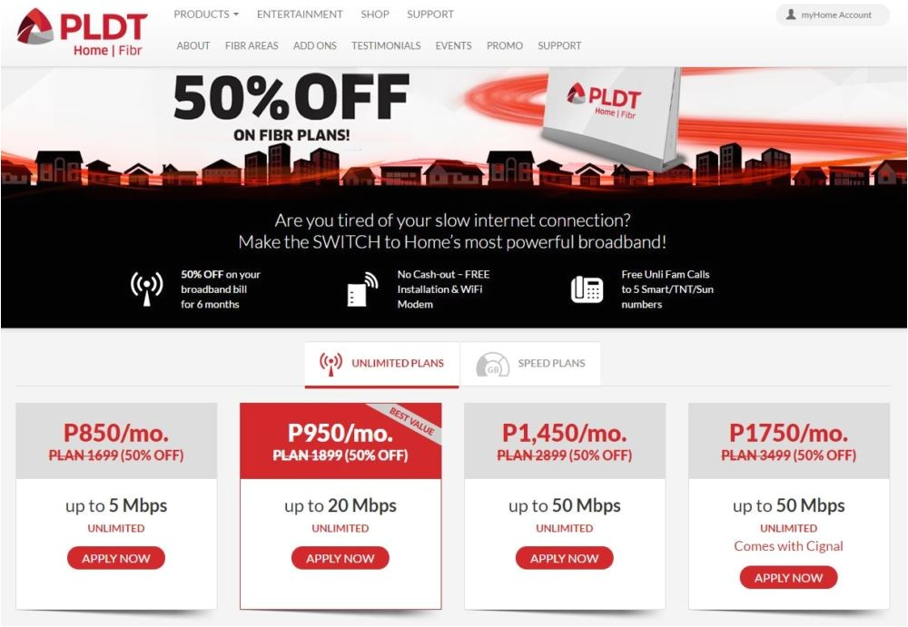 pldt offers new home fibr subs 50 off bills