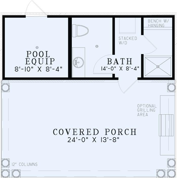 Pool House Floor Plans with Bathroom Poolhouse Plans 1495 Poolhouse Plan with Bathroom