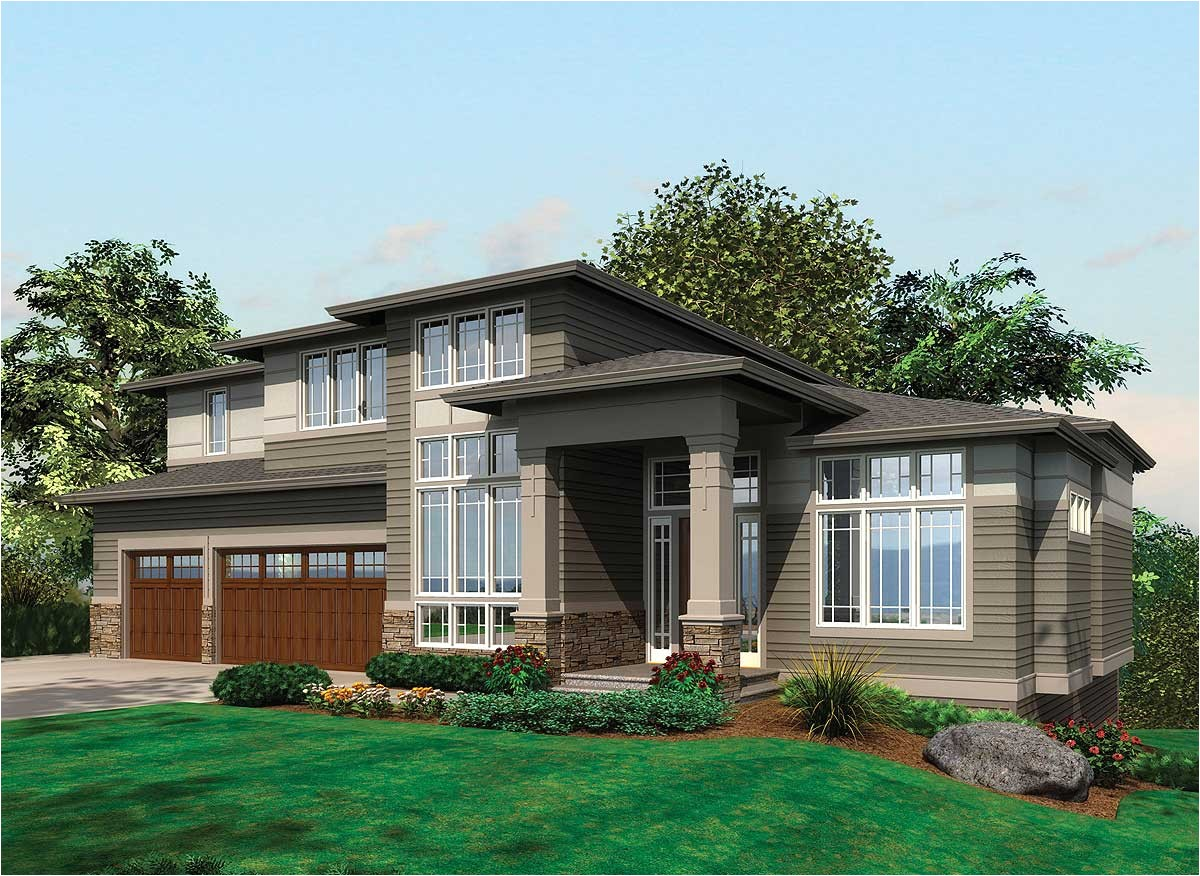Prairie Home Plans Contemporary Prairie with Daylight Basement 69105am