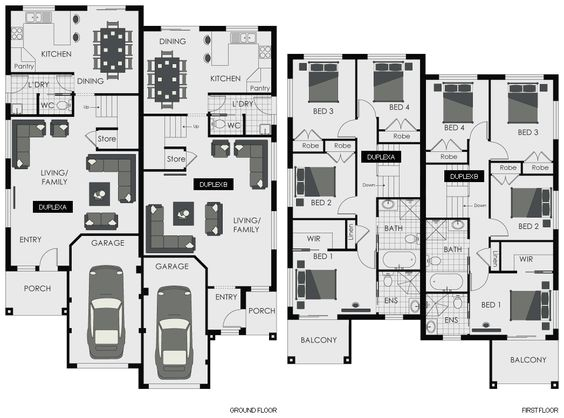 quadruplex house plan