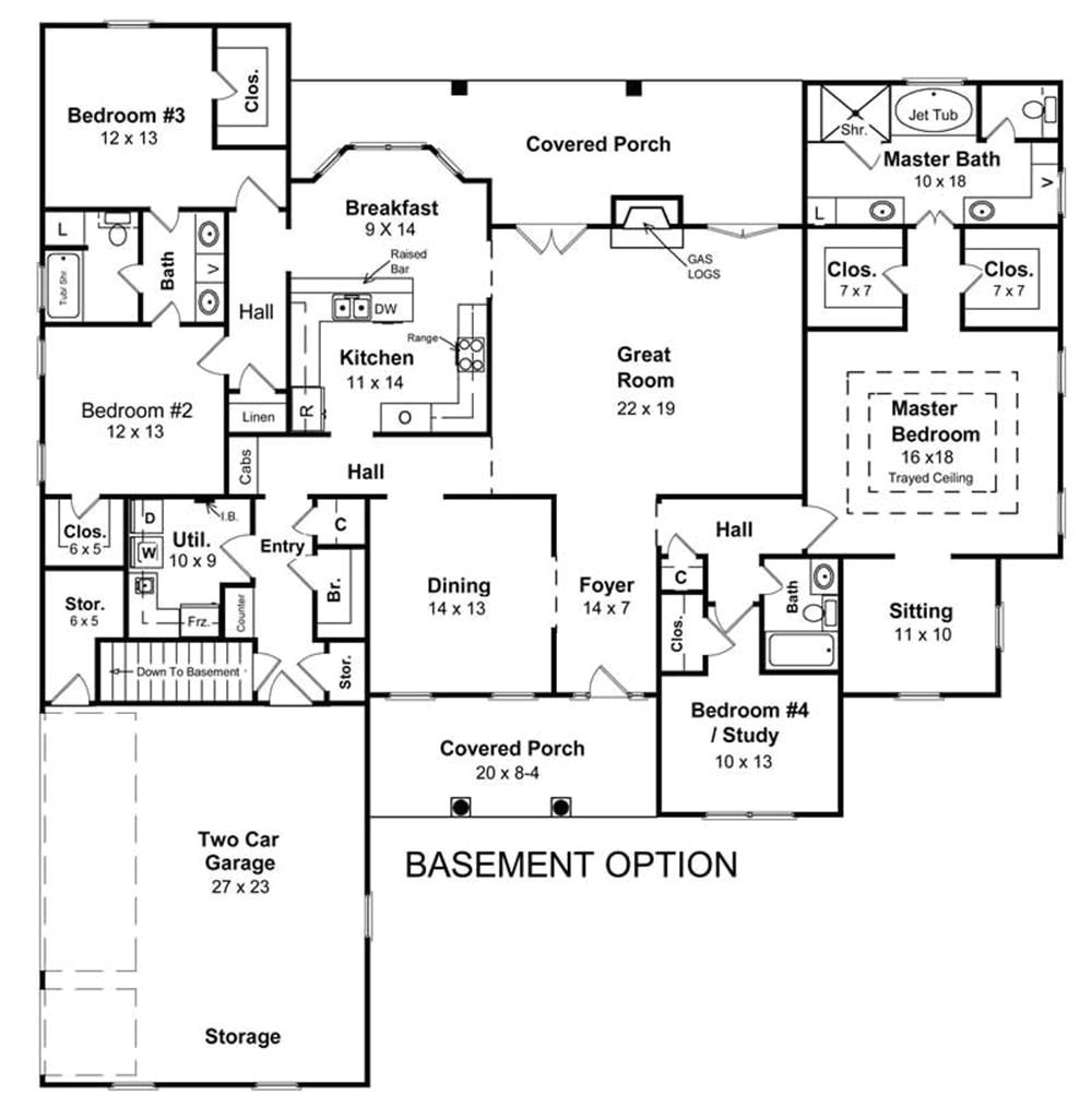 ranch house floor plans with basement