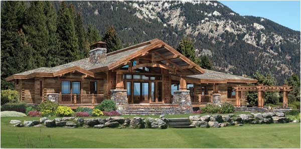wood river log home plan