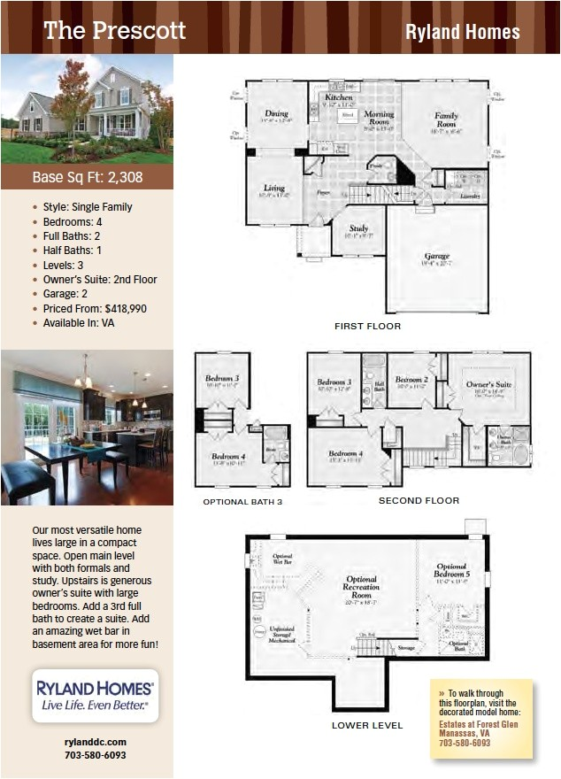 ryland homes floor plans one story