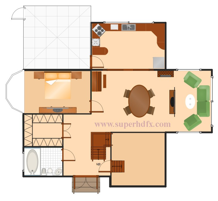 single bed house plan sample