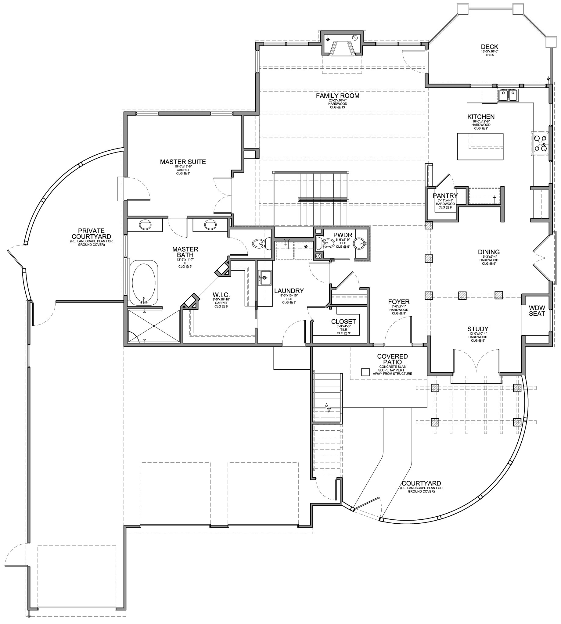 santa fe style home with walkout floor plan