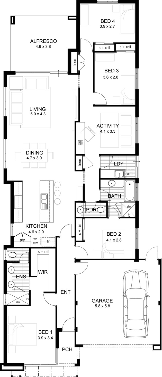single storey floor plans narrow lot