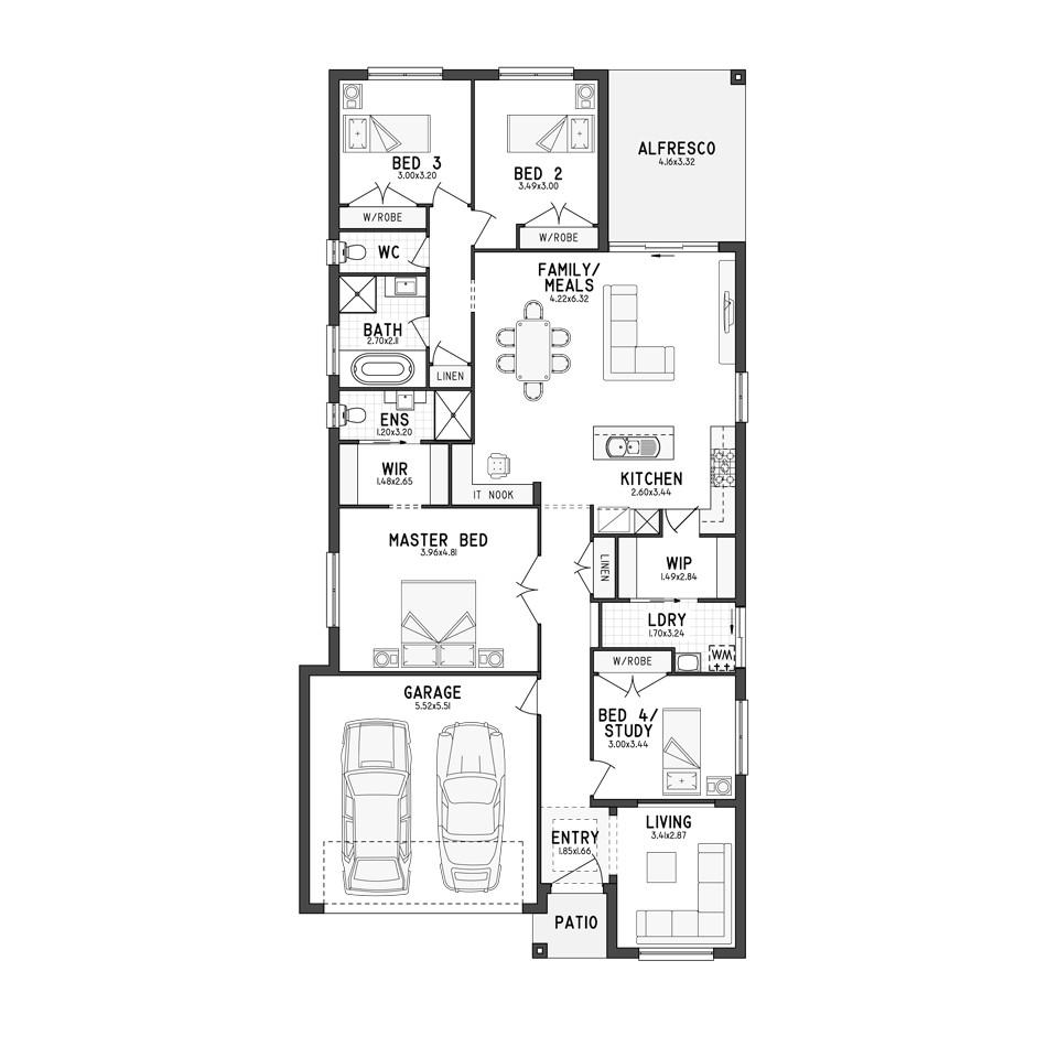 single story house plans for narrow blocks