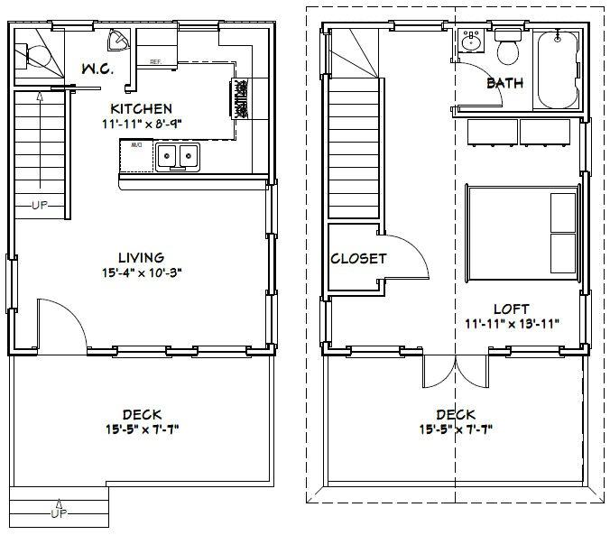 16x20 cabin floor plans