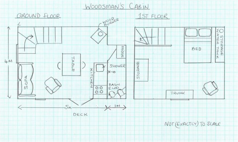covert cabin woodsman floor plan via smallhousebliss