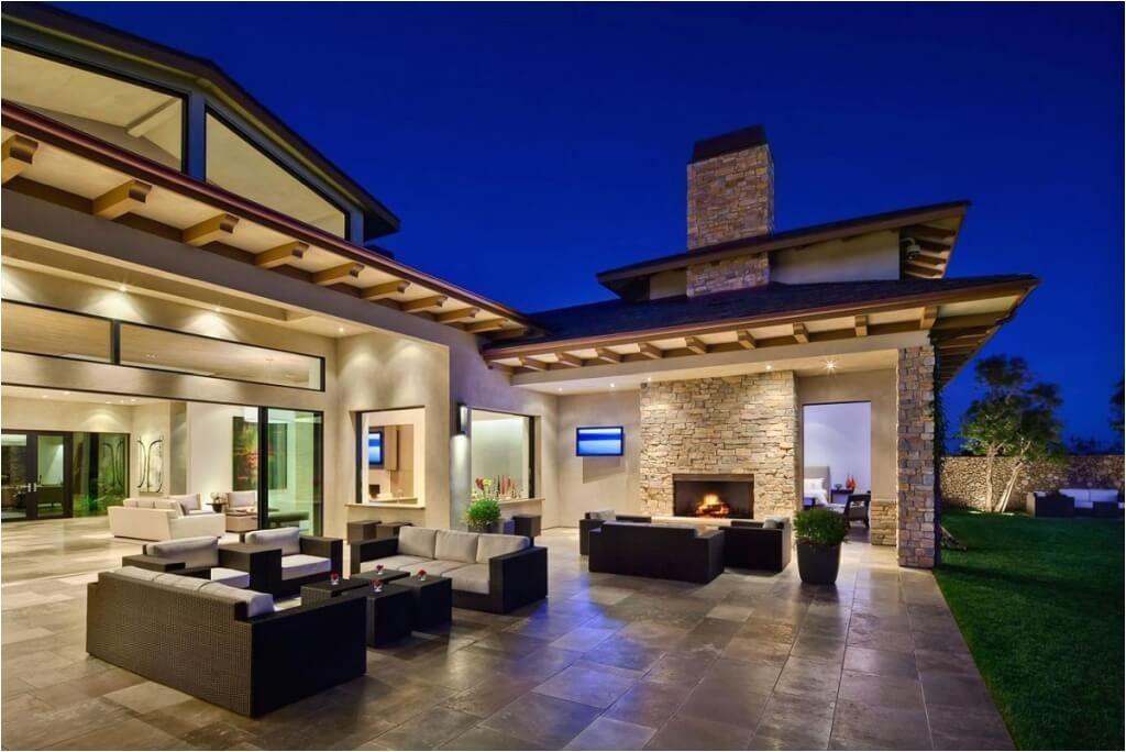 elegant spanish style home design with cool patio design
