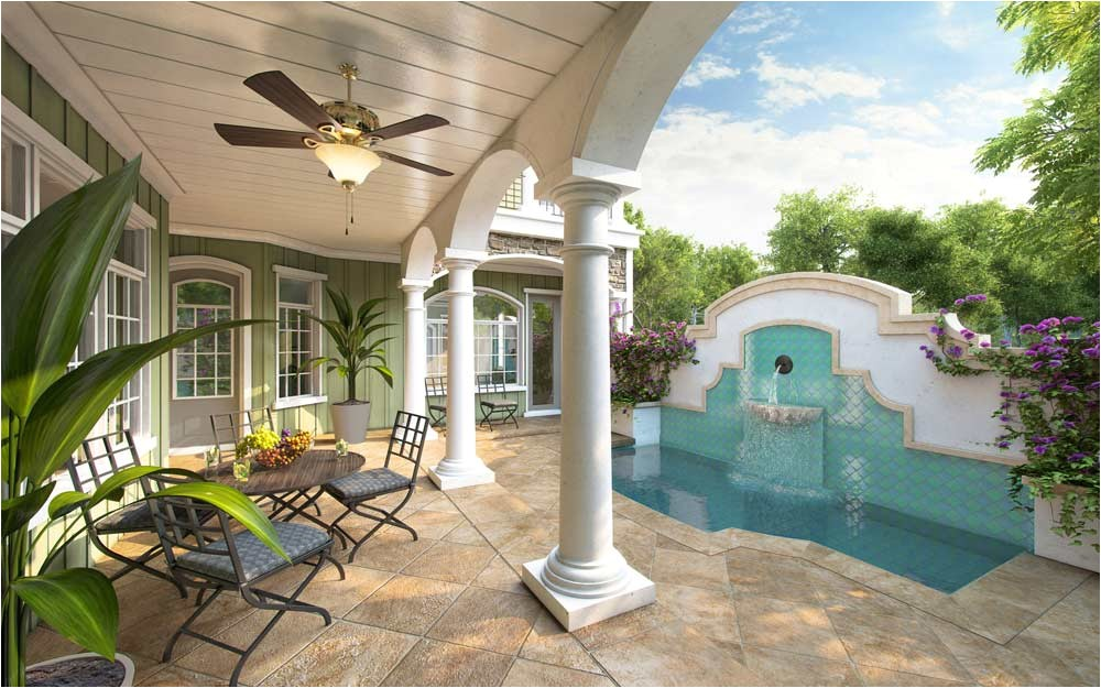 spanish style house plans with interior courtyard design