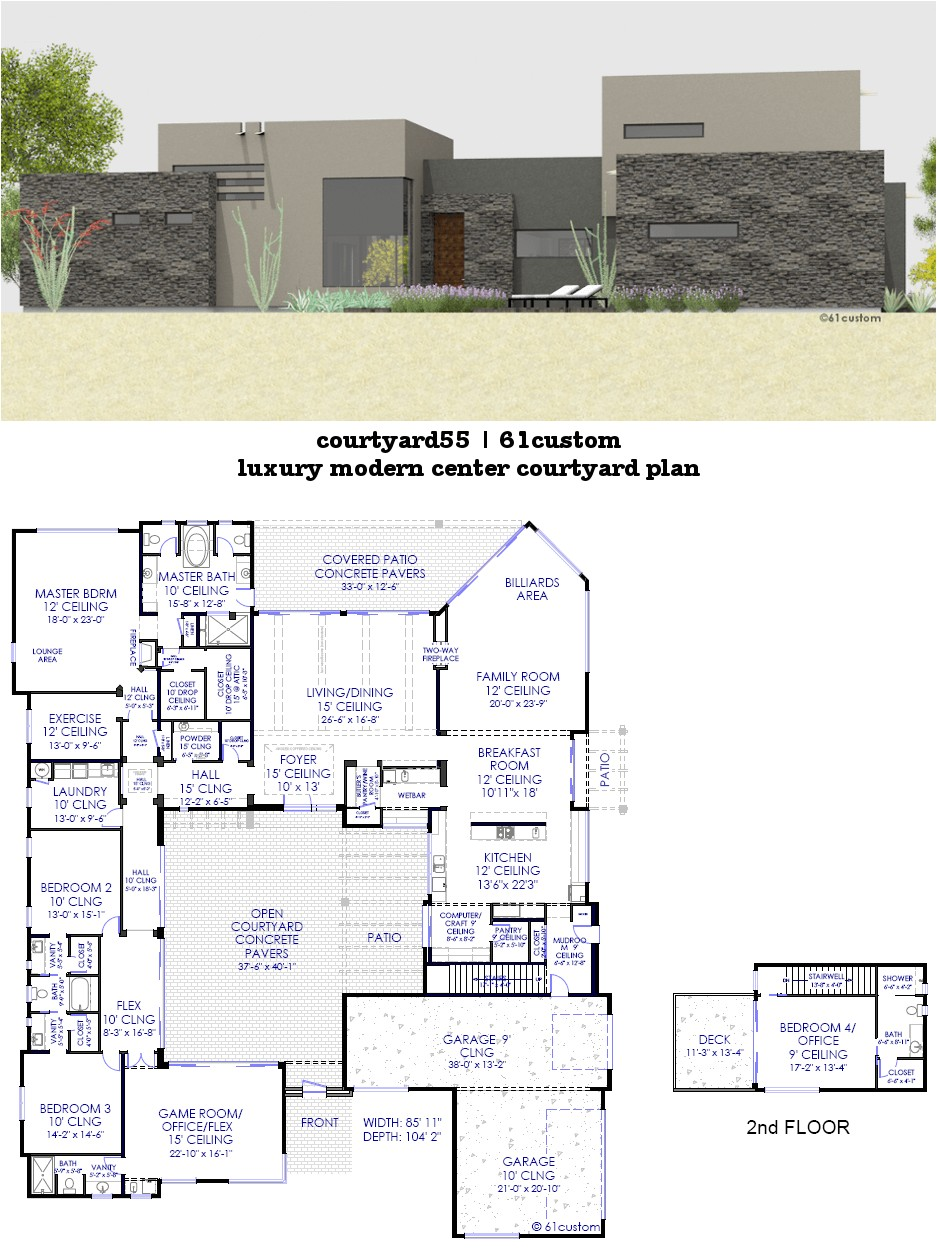 stone house plans with atrium
