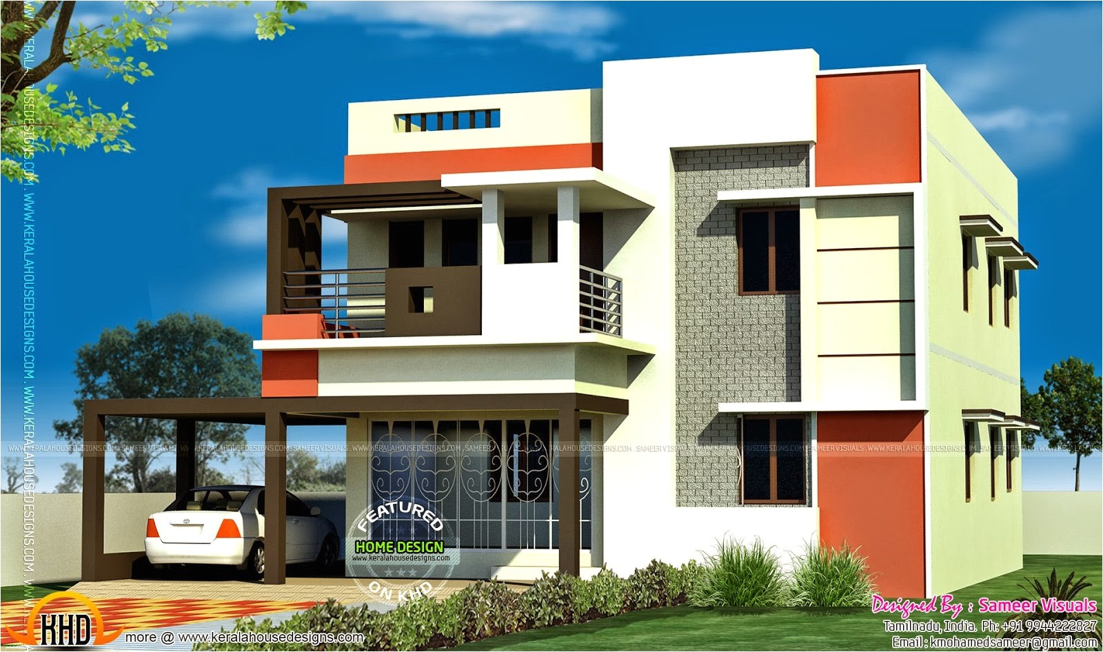 3 bedroom tamilnadu flat roof house