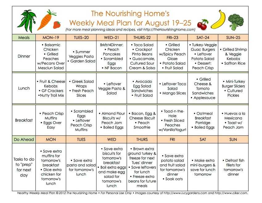 meal plan monday august 19 september 1