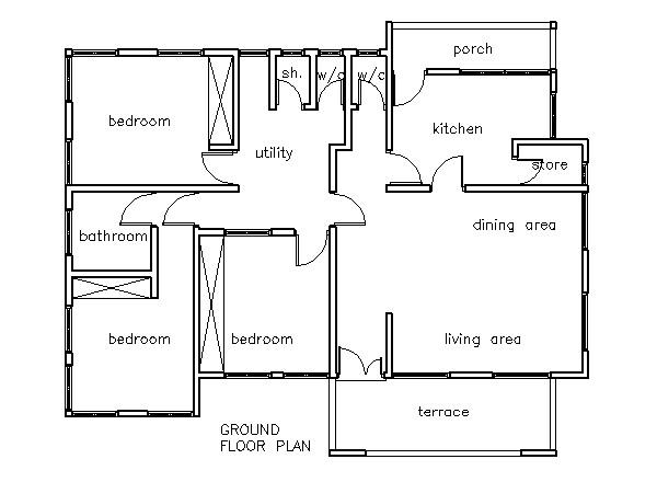 kwaku 3 bedroom house plan