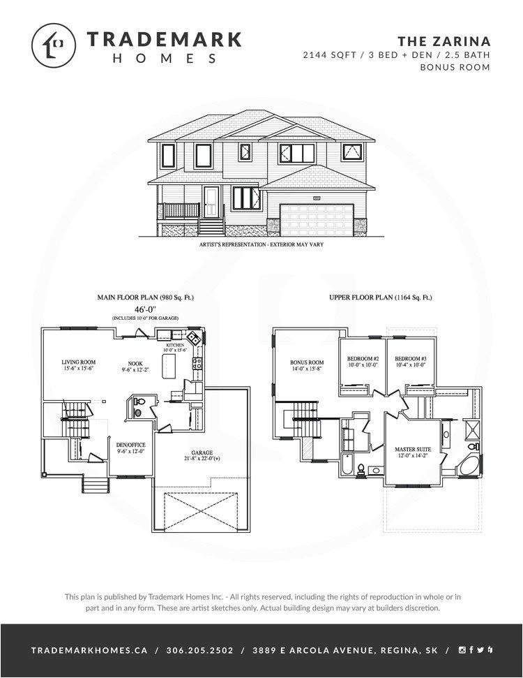 trademark homes floor plans elegant the zarina 2 storey trademark homes regina and area home builder