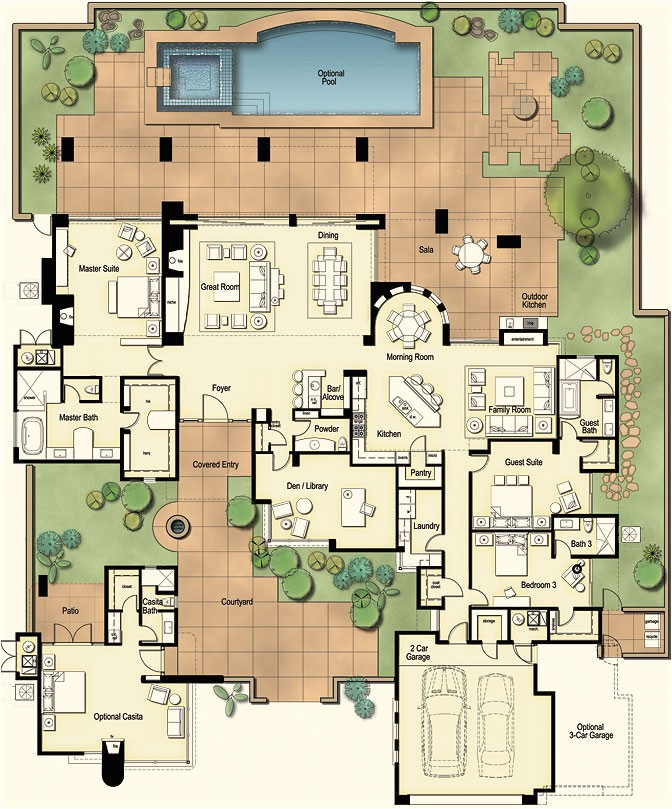 tucson custom home hacienda floor plan