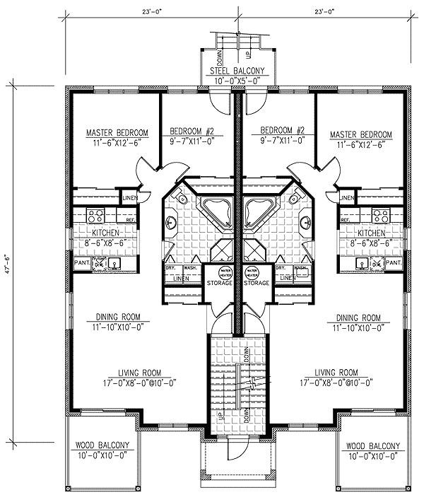 six plex multi family home plan 90146pd