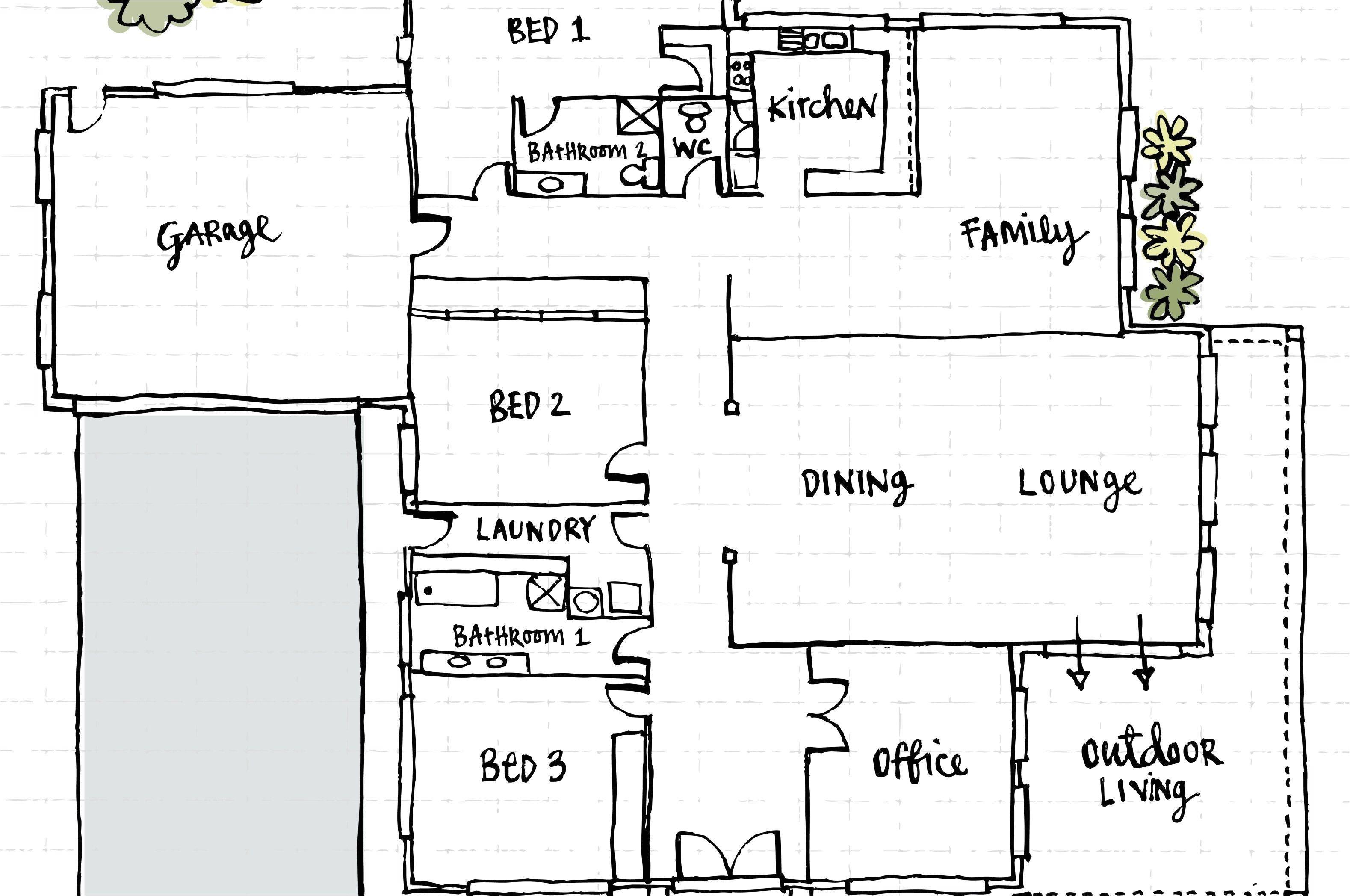 front view floor plan