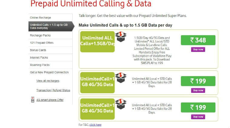 vodafone rs 199 recharge offer this prepaid plan gives unlimited calls 1gb data 4949714