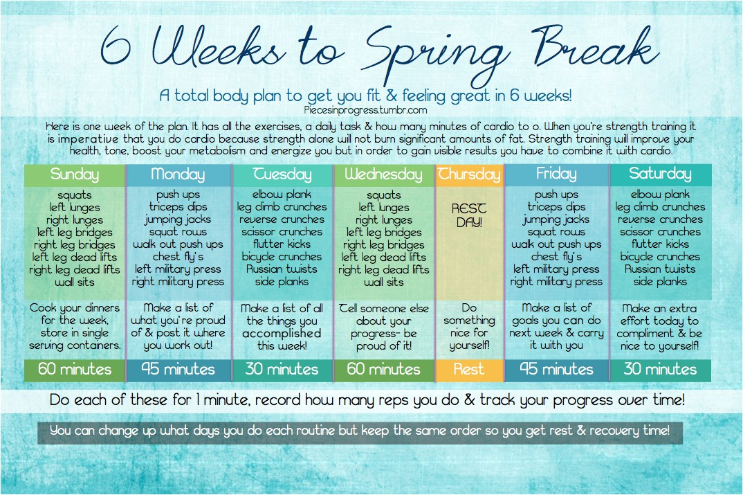 6 weeks to spring break at home workout plan