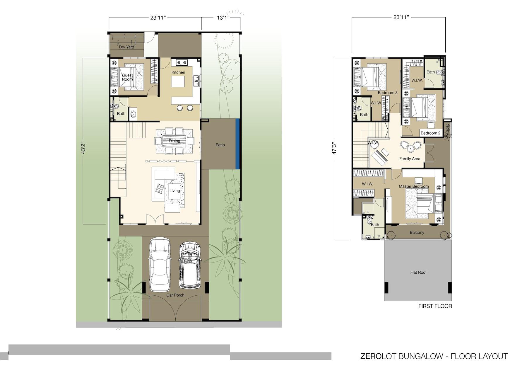 zero lot line floor plans