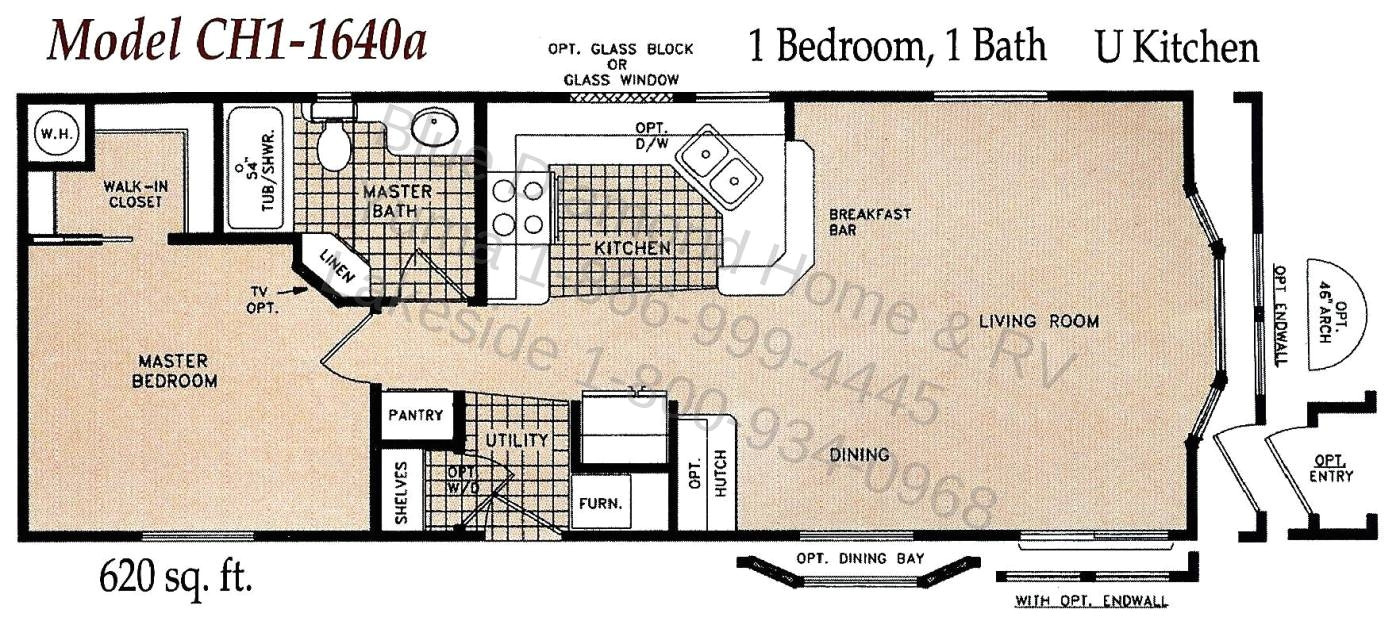 3410 1 bedroom single wide mobile home floor plans